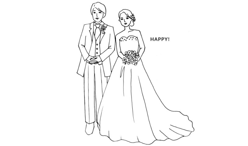 結婚式の線画イラスト