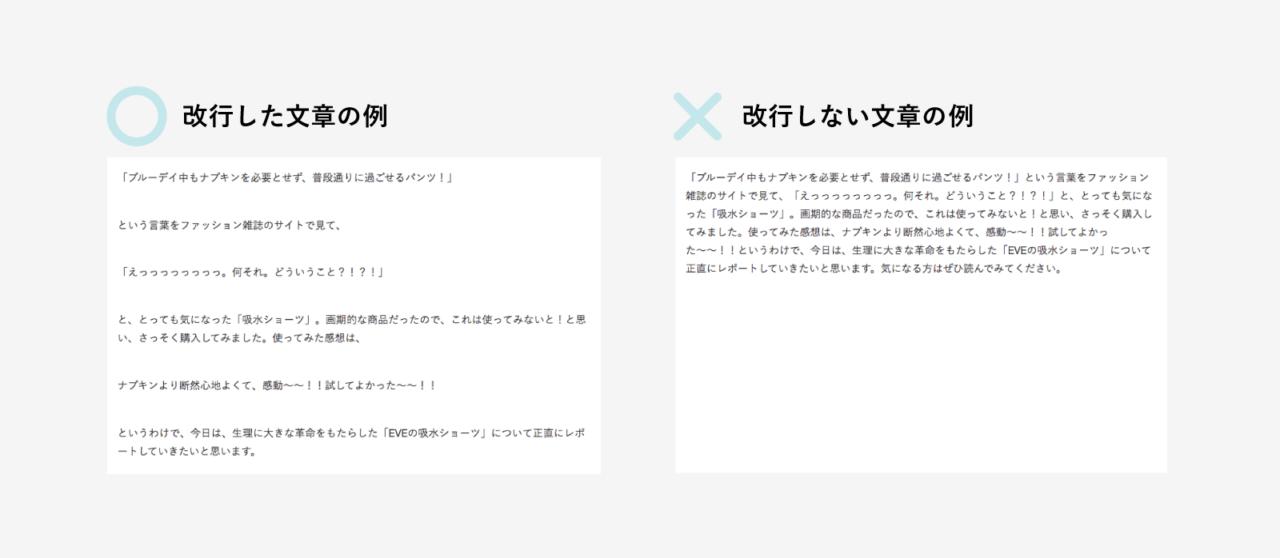 見やすいブログデザイン。改行した文章の例と改行なしの文章の例
